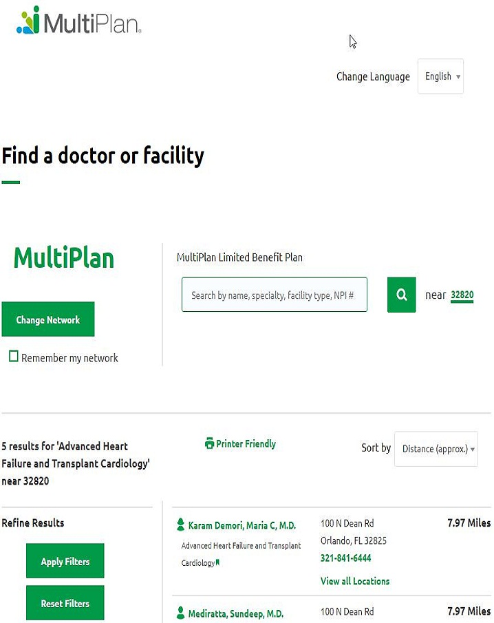MultiPlan Network care access